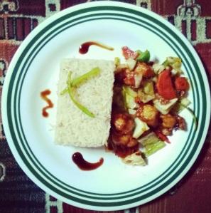 Serving Garlic Rice
